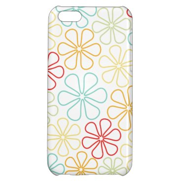 Abstract Flowers Red Yellow Orange Lime Teal White Case For iPhone 5C