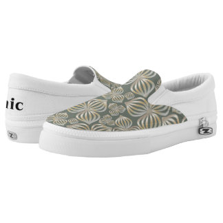 abstract flowers seamless golden grey + your ideas Slip-On sneakers