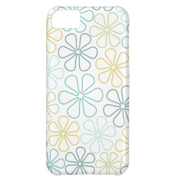 Abstract Flowers Teals Yellow Lime White Case For iPhone 5C