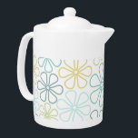 """Abstract Flowers Teals Yellow Lime White Teapot<br><div class=""""desc"""">Abstract flower outlines in a mix of teal shades,  yellow and lime-green on a white background.</div>"""