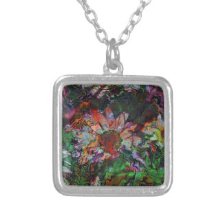 Abstract Flowers (U) Silver Plated Necklace