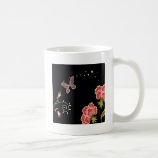 Abstract Flowers Warm Colors Black Butterfly Coffee Mug