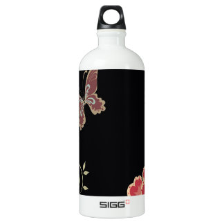 Abstract Flowers Warm Colors Black Butterfly SIGG Traveler 1.0L Water Bottle