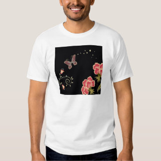 Abstract Flowers Warm Colors Black Butterfly T-Shirt