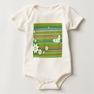 Abstract Flowers Warm Colors Green Baby Bodysuit