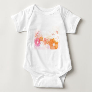 abstract flowers warm colors leaf splash baby bodysuit