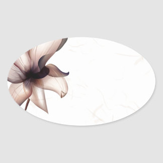 Abstract Flowers Warm Colors Pip Oval Sticker