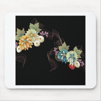 Abstract Flowers Warm Colors Ribbon Mouse Pad