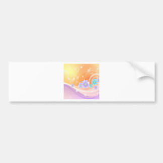 Abstract Flowers Warm Colors Summer Bumper Sticker