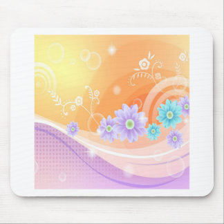 Abstract Flowers Warm Colors Summer Mouse Pad