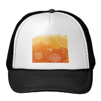 Abstract Flowers Warm Colors Water Lilly Trucker Hats