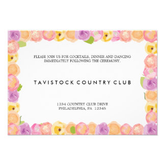 Abstract Flowers Wedding Reception Card