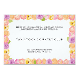 Abstract Flowers Wedding Reception Card Personalized Announcement