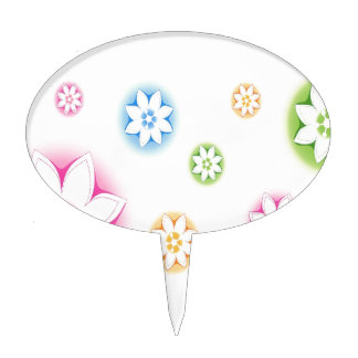 Abstract Flowers White Abstract Cake Picks