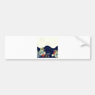 Abstract Flowers White Blue Fireworks Bumper Stickers