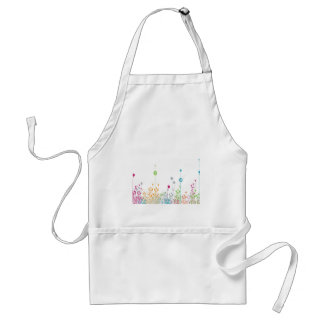 Abstract Flowers White Field Adult Apron