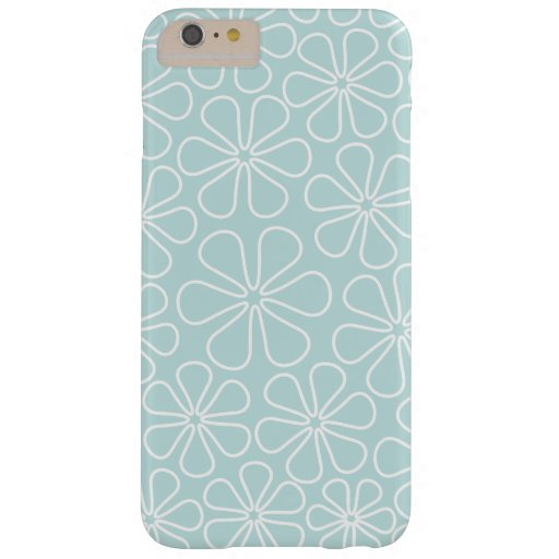 Abstract Flowers White on Duck Egg Blue Barely There iPhone 6 Plus Case
