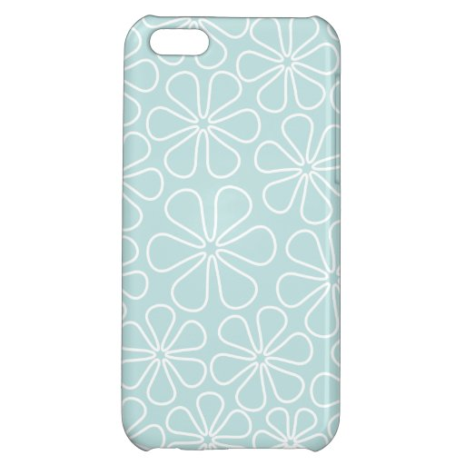 Abstract Flowers White on Duck Egg Blue Case For iPhone 5C