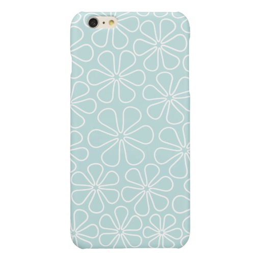 Abstract Flowers White on Duck Egg Blue Glossy iPhone 6 Plus Case