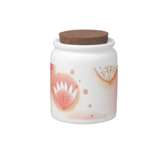 Abstract Flowers White Red Splash Candy Dish