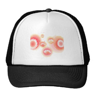 Abstract Flowers White Red Splash Mesh Hats