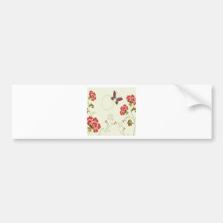 Abstract Flowers White Summer Butterfly Bumper Sticker