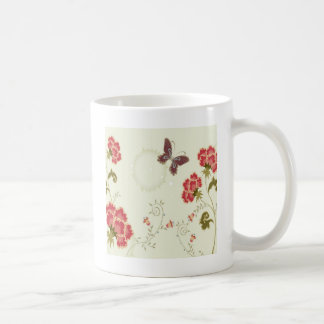 Abstract Flowers White Summer Butterfly Coffee Mug