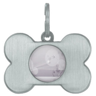 Abstract Flowers White Wave Pet Tags