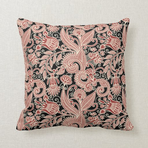 Abstract Flowers with Black Background #2 Pillow