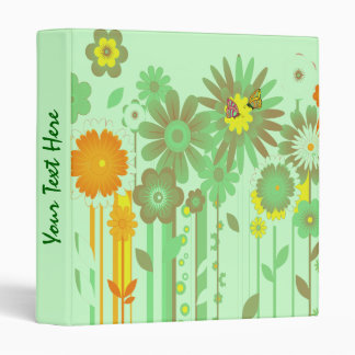 Abstract  flowers with butterflies Binder
