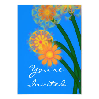 Abstract Flowers, You're Invited Card