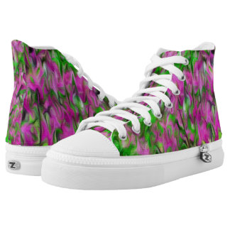 Abstract Flowery hightop shoes