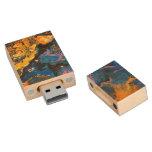 Abstract fluid art wood flash drive