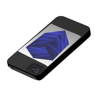 Abstract flux BLUE crimson 3d cube iPhone 4 Case-Mate Case