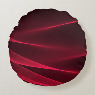 Abstract flux red crimson round pillow