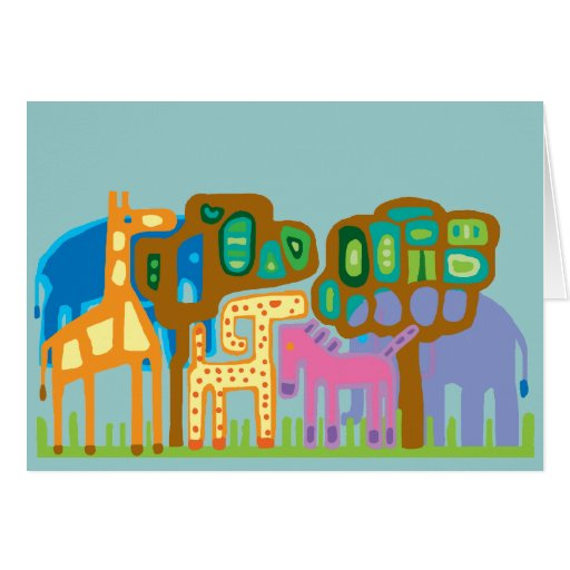 Abstract folk art African animals Cards