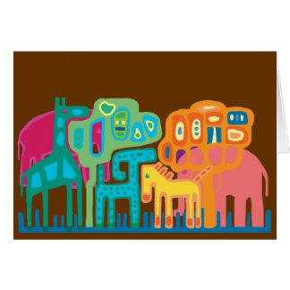 Abstract folk art African animals Greeting Card