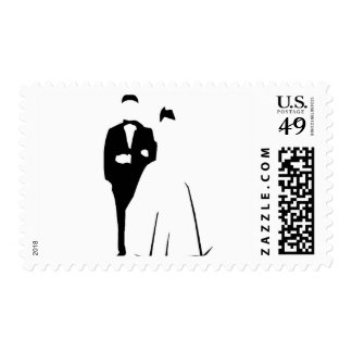 Abstract Formal Bride and Groom Postage Stamp