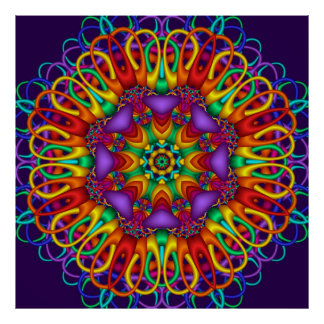 Abstract fractal  Bright shining Mandala Poster