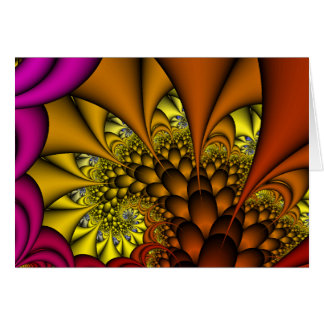 Abstract Fractal Card:  Fiery Caverns Greeting Card
