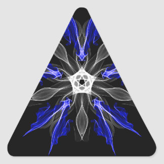Abstract Fractal Flower Explosion in Blue Triangle Sticker