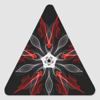 Abstract Fractal Flower Explosion in Red Triangle Sticker