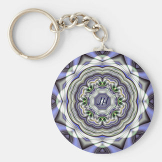 Abstract fractal keychain with monogram