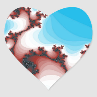 Abstract Fractal Maroon Lightening Blue Heart Sticker
