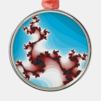Abstract Fractal Maroon Lightening Blue Metal Ornament