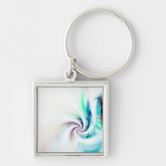 Abstract Fractal Swirl Textured Silver-Colored Square Keychain
