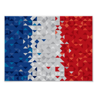 Abstract France Flag, French Colors Poster