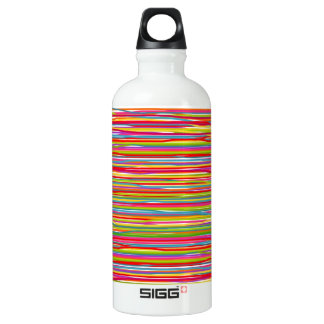 Abstract freehand lines of all colors aluminum water bottle