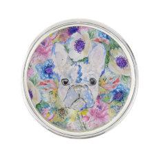 Abstract French bulldog floral watercolor paint Pin