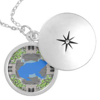 Abstract Frog Art Round Silver Locket